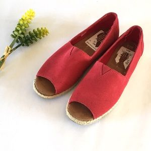 622e99ce7416 Toms Shoes - Toms Raspberry Suede Open Toe Alpargatas sz 7.5